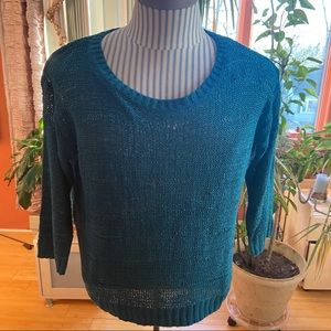 NWOT H&M teal aqua 3/4 sleeve sheer sweater